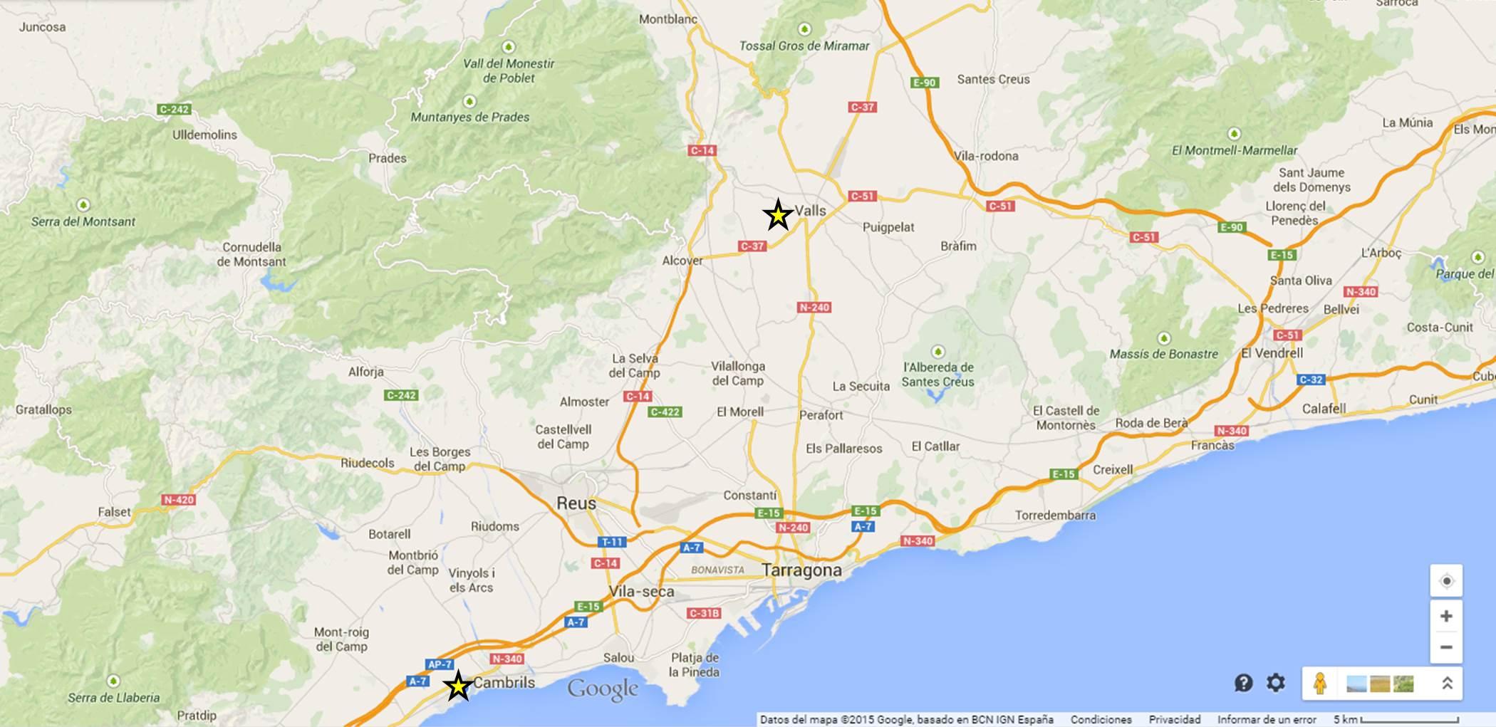 Mapa Camp Tarragona
