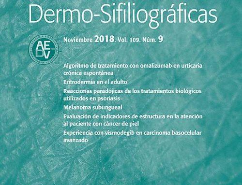Nuevo articulo: Actas Dermo-Sifiliográficas Vol. 109 Num. 9 Noviembre 2018